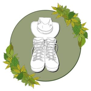 Boots, hat and leaves logo